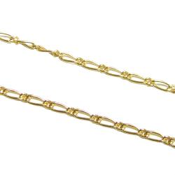 "12"" x 14K Gold filled Bead 040 FIGARO 1+1 1.5mm Chain"