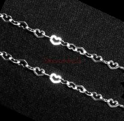 "12"" Sterling silver bead 3.6mm Flat Heart link Chain"