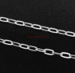 "12"" Sterling silver bead 3.6mm STRIPED OVAL RING Link CABLE Chain"