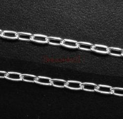 "12"" Sterling silver bead 3.5mm LONG OVAL RING Link CABLE Chain 050"