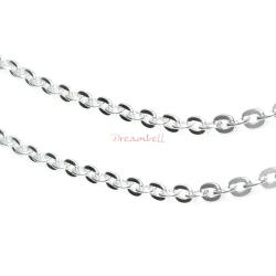 "12"" 925 Sterling Silver 1.5mm Flat Oval Ring Bead Link Footage Chain"