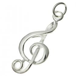 1 x Sterling Silver Melody Treble Clefs Charm Pendant 11 x 25mm