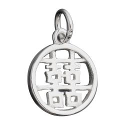 "1x Sterling Silver Chinese Word ""DOUBLE HAPPINESS"" Dangle Charm Bead 11mm"