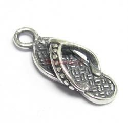 1x Bali Sterling Silver Flip Flop Slipper Dangle Charm Pendant