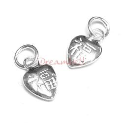 2x Bright Sterling silver Heart FORTUNE Dangle Charm Pendant