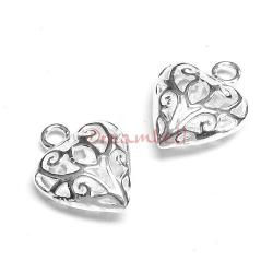 2x Bright Sterling silver Heart Dangle Charm Filigree Pendant 14mm