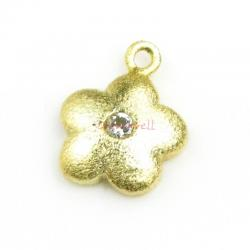 2x 14k Real Gold on Sterling Silver Flower CZ Dangle Charm Pendant 7mm