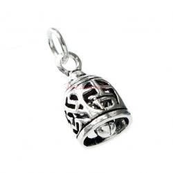 1 x Antique 925 Sterling Silver Chinese Words Lucky and Fortune Jingle Bell Dangle Charm Pendant