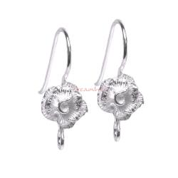 2x Sterling Silver Rose Flower French Hook Earring wire