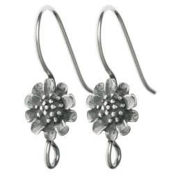 2x Sterling Silver Antiqued Sun Flower French Hook Earring Wire