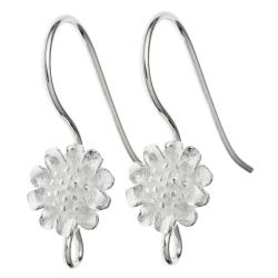 2x Sterling Silver sun Flower French Hook Earring wire