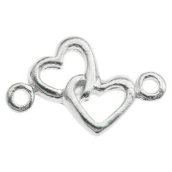 4x STERLING SILVER BRIGHT Double  HEART LINK CONNECTOR BEAD