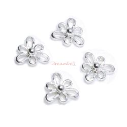 4x Sterling Silver Flower Chandelier Link Bead Connector