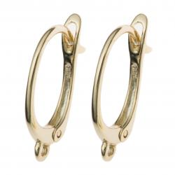 2x Vermeil 14K Gold plated over Sterling silver Ear wire Oval hoop earwires Dangle connector