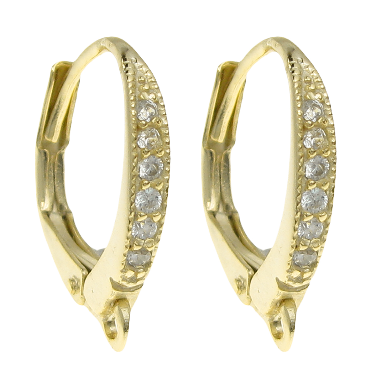 2x Vermeil 14k Gold Plated SILVER LEVERBACK CZ Crystal lever back Ear wire