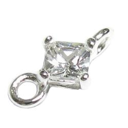 2x Sterling silver CZ Crystal LINK CONNECTOR BEAD 10mm