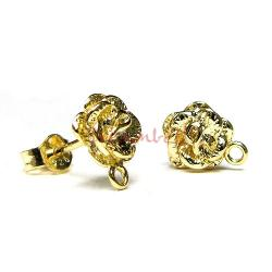 2x Vermeil 14K Gold plated over Sterling silver Rose Stud earrings  W/ loop post
