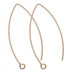 2x 14k Rose Gold Filled Twisted Earwire French Hook Dangle Earring Connector
