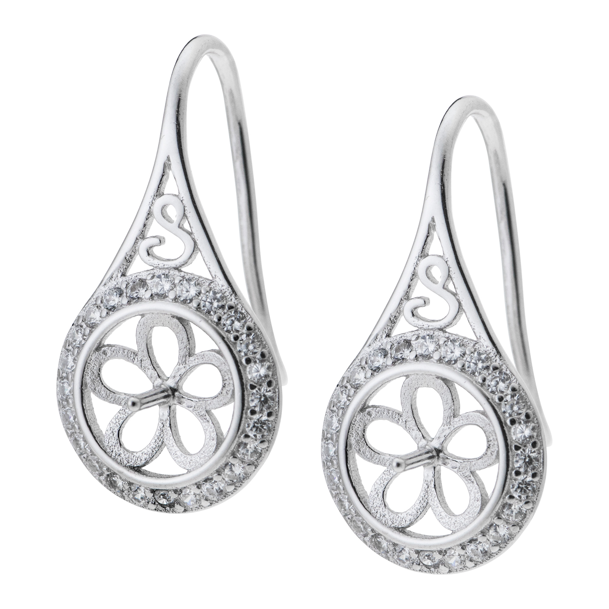2x Rhodium on Sterling Silver Teardrop Filigree Flower CZ Pearl Earwire Hook Earring Connector