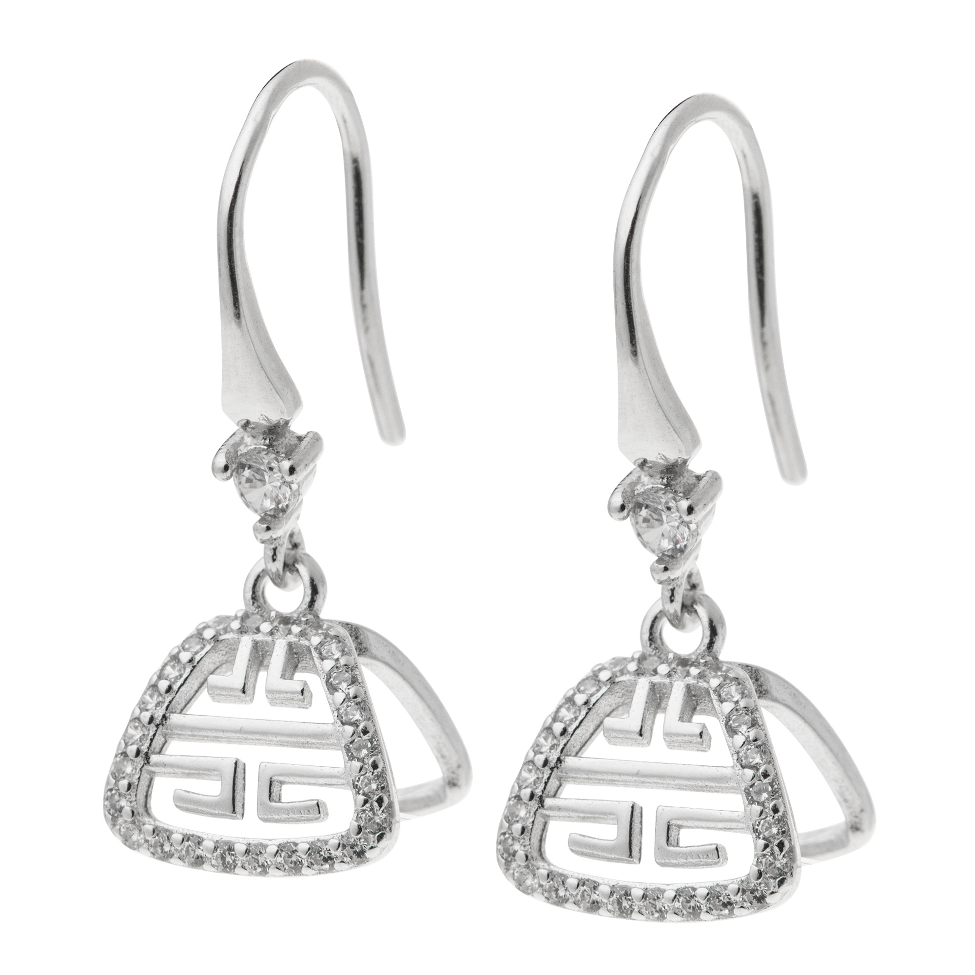 2x Rhodium on Sterling Silver CZ Chinese Forture Bail Earwire Hook Dangle Earring Connector