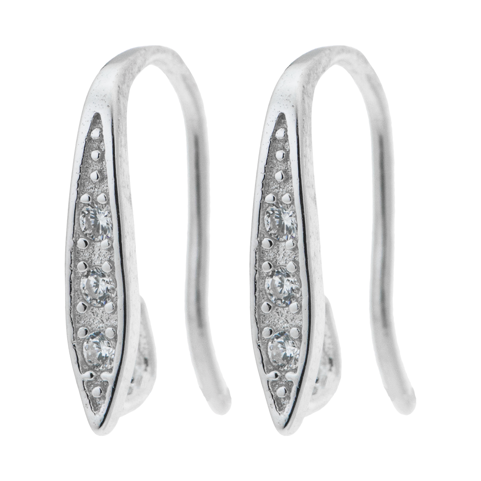 2x Rhodium on Sterling Silver CZ Teardrop Earwire Hook Dangle Earring Connector