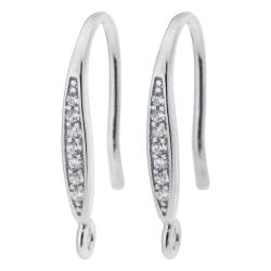 2x Rhodium on 925 Sterling Silver CZ Earwire Hook Dangle Drop Earring Connector