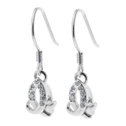 2x Rhodium 925 Sterling Silver Ribbon Flower CZ Leverback Earwire Dangle Drop Earring Connector
