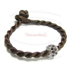 Chinese HAND KNOTTED SILK CORD BRACELET Dark Brown for European Charm Bead