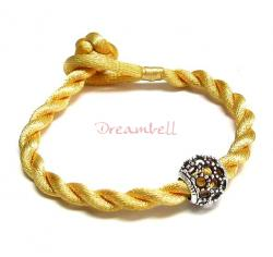 Chinese HAND KNOTTED SILK CORD BRACELET Gold for European Charm Bead