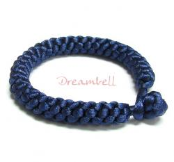 Chinese HAND KNOTTED SILK CORD BRACELET BLUE 7.5""