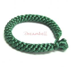 Chinese HAND KNOTTED SILK CORD BRACELET GREEN 7.5""
