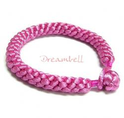 Chinese HAND KNOTTED SILK CORD BRACELET DEEP PINK 7.5""