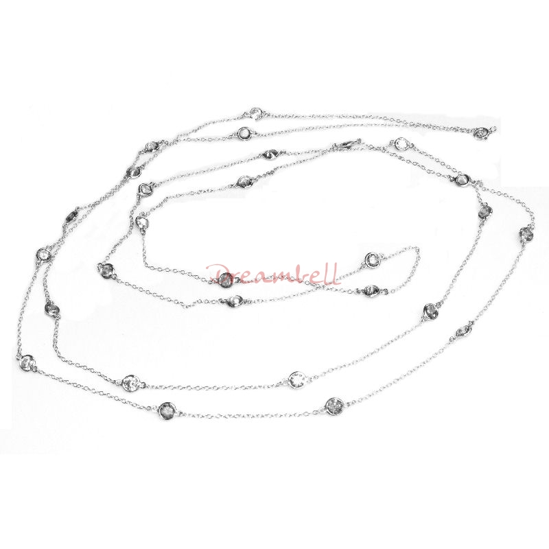 1x Rhodium on Sterling Silver Round Clear CZ Charm Link Rolo Cable Chain Necklace w/ Spring Clasp 54""