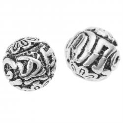 2x Bali 925 Sterling Silver Buddhist Prayer Word Heart Sutra Bead Spacer