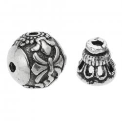 1 Set Antique Bali 925 Sterling Silver Gourd Flower Leaf Curved Round Spacer Bead Cap