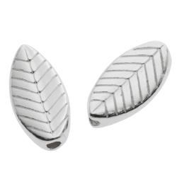 4x 925 Sterling Silver Tree Leaf Tube Bead Spacer