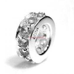 Sterling Silver ROUND RING Bead clear CZ crystals for European Charm Bracelets