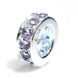 Sterling Silver ROUND RING Bead violet CZ crystals for European Charm Bracelets