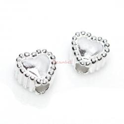 4 STERLING SILVER Heart BEAD SPACER 4.5mm