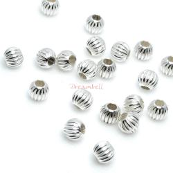 20 Sterling Silver Round Corrugated Bead Spacer 3mm