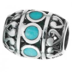 1x Sterling silver Focal Barrel Bead with TURQUOISE stone
