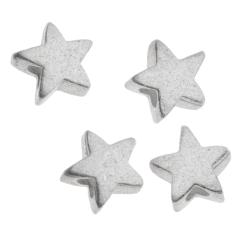 10x STERLING SILVER Satin STARDUST LITTLE TWINKLE STAR BEAD CONNECTOR SPACER 5MM