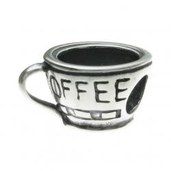 Sterling Silver Coffee Cup Bead for for European Charm Bracelets 15mm
