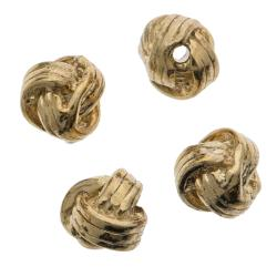 4x 14k Gold Sterling Silver 4mm Round Woven Spacer Bead