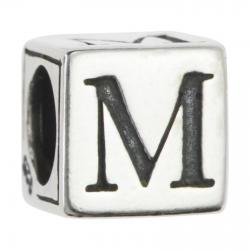 "Sterling Silver Dice Cube Letter M"" Bead Tube for European Charm Bracelets"