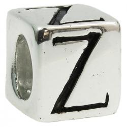 "Sterling Silver Dice Cube Letter Z"" Bead Tube for European Charm Bracelets"