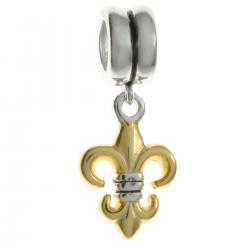 14K Gold Plated 925 Sterling  Silver FLEUR-DE-LIS Dangle Charm for European Charm Bracelets