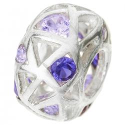 Sterling Silver BALL Bead w/ Purple Crystal for European Charm Bracelets 12.5mm