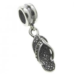 Bali Sterling Silver Flip Flop Slipper Dangle Bead for European Charm Bracelets