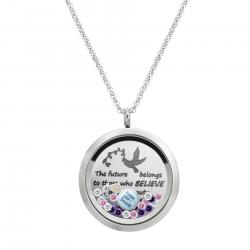 1x Stainless Steel Dream and Belive Round Floating Locket Crystals Charm Chain Necklace Pendant 30mm